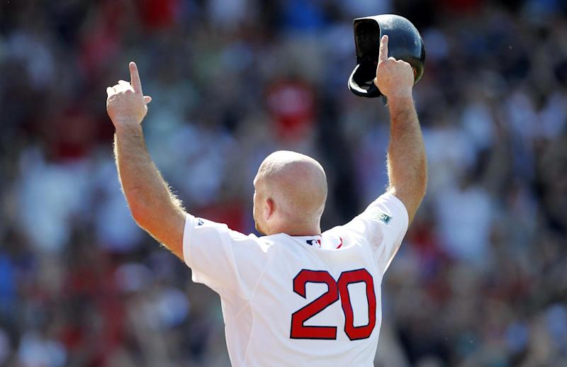 Boston Red Sox's Kevin Youkilis (20) raises his arms to the crowd as he comes off the field after hitting a triple and being replaced with a pinch-runner in the seventh inning of a baseball game against the Atlanta Braves in Boston, Sunday, June 24, 2012. (AP Photo/Michael Dwyer)