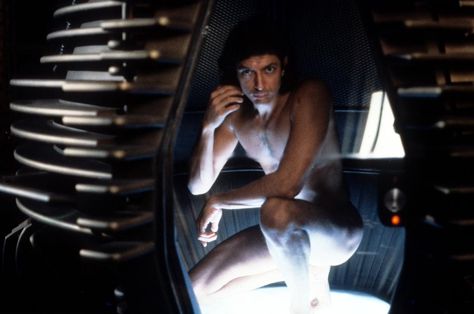 """Jeff Goldblum crouches in a pod before getting transformed into a monstrous insectoid in """"The Fly."""""""