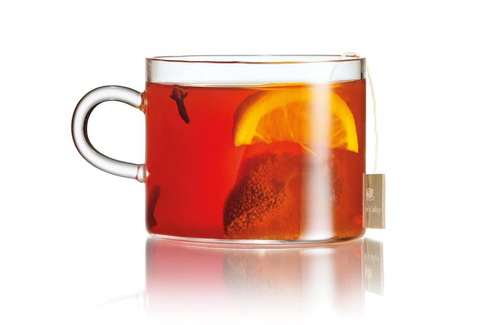 """This warm drink is perfect for a chilly night. <a href=""""https://www.epicurious.com/recipes/food/views/moneygun-hot-toddy?mbid=synd_yahoo_rss"""" rel=""""nofollow noopener"""" target=""""_blank"""" data-ylk=""""slk:See recipe."""" class=""""link rapid-noclick-resp"""">See recipe.</a>"""