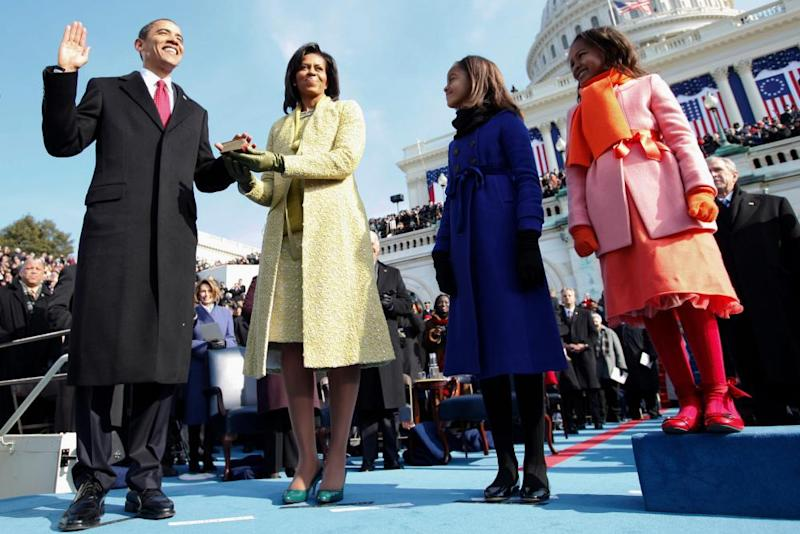 Barack, Michelle, Malia and Sasha Obama at Obama's presidential inauguration in January 2009.