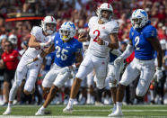 Nebraska quarterback Adrian Martinez (2) rushes the ball down to the Buffalo 2-yard line to help set up Nebraska's first touchdown in the second quarter of an NCAA college football game Saturday, Sept. 11, 2021, in Lincoln, Neb. (Francis Gardler/Lincoln Journal Star via AP)