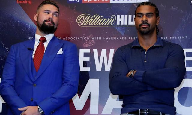 """<span class=""""element-image__caption"""">Tony Bellew, left, is convinced he would have beaten David Haye in March even if his opponent had not been troubled by an achilles tendon injury.</span> <span class=""""element-image__credit"""">Photograph: Andrew Couldridge/Action Images via Reuters</span>"""