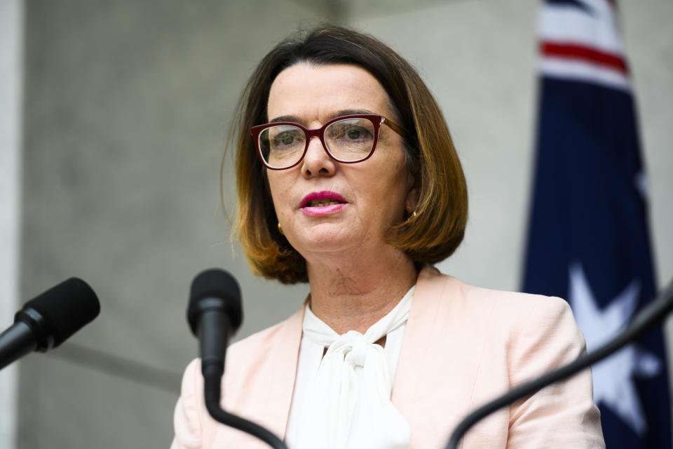 CANBERRA, AUSTRALIA - JANUARY 15:Minister for Social Services, Anne Ruston speaking alongside Prime Minister Scott Morrison, at a media conference at Parliament House on January 15, 2020 in Canberra, Australia. The government today announced an additional AU$50 million in bushire assistance funding, with AU$40 million going to charities and AU$10 million for financial counsellors to work in affected areas. (Photo by Rohan Thomson/Getty Images)