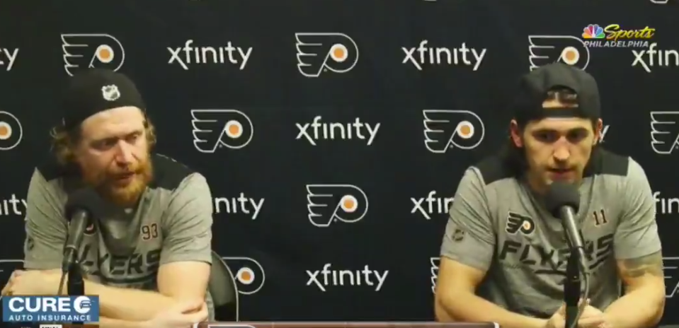 Jakub Voracek went off on Flyers beat writer Mike Sielski during a live post-game presser on Friday. (Photo via NBC Sports)