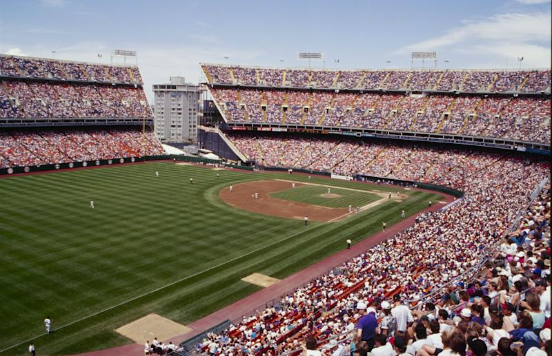 DENVER - MAY 22: A general view of Mile High Stadium during the MLB game between the Atlanta Braves and the Colorado Rockies on May 22, 1994 in Denver, Colorado. (Photo by Nathan Bilow/Getty Images)