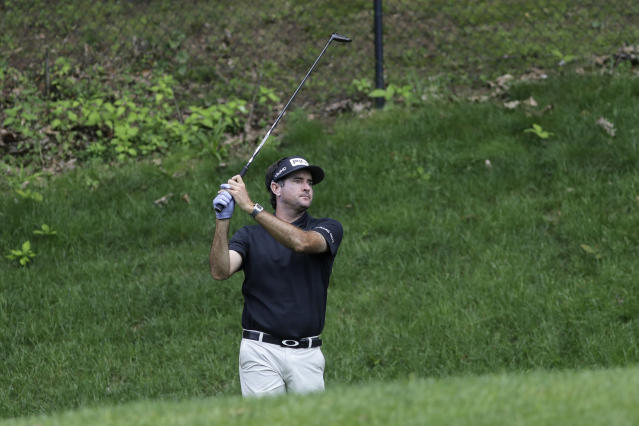 Bubba Watson works out during a practice round ahead of the Travelers Championship golf tournament at TPC River Highlands, Wednesday, June 24, 2020, in Cromwell, Conn. (AP Photo/Frank Franklin II)