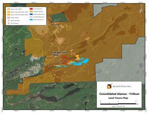 Figure 2: Alamos Gold and Trillium Mining Land Tenure Map – Surface Projection of Island Gold Mine Year End 2019 Mineral Reserves and Resources