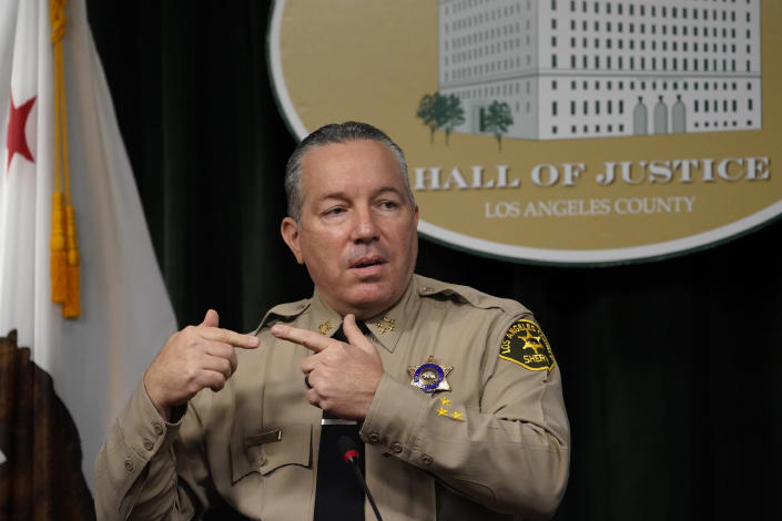 FILE - In this Sept. 17, 2020, file photo, Los Angeles County Sheriff Alex Villanueva comments on the shooting of 29-year-old Dijon Kizzee, who was killed by deputies following a scuffle, during a news conference at the Hall of Justice in downtown Los Angeles. The California Department of Justice has opened a civil rights investigation to determine whether the Los Angeles County Sheriff's Department has engaged in a pattern or practice of unconstitutional policing, California Attorney General Xavier Becerra announced Friday, Jan. 22, 2021. (AP Photo/Damian Dovarganes, File)