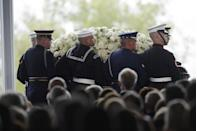"""<p>When a former president dies, there are <a href=""""https://www.rd.com/list/things-that-happen-when-president-dies/"""" rel=""""nofollow noopener"""" target=""""_blank"""" data-ylk=""""slk:several rules"""" class=""""link rapid-noclick-resp"""">several rules</a> and traditions which determine how the country will honor them. For former first ladies, this isn't really the case. Federal and local governments <a href=""""https://www.nbcnews.com/news/us-news/nancy-reagan-dead-94-there-s-little-protocol-honoring-first-n533346"""" rel=""""nofollow noopener"""" target=""""_blank"""" data-ylk=""""slk:decide what is appropriate"""" class=""""link rapid-noclick-resp"""">decide what is appropriate</a>, and the funerals or memorials are usually smaller and more private.</p>"""