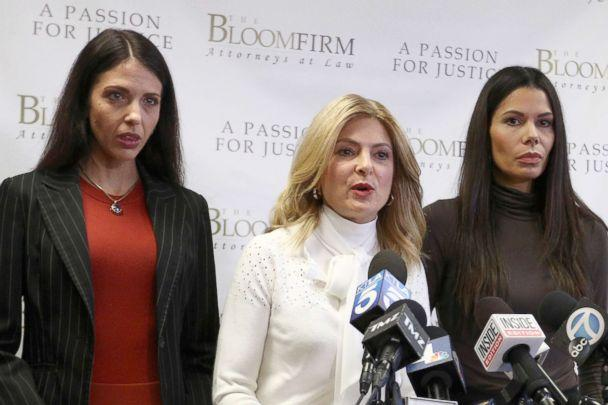 Attorney Lisa Bloom (C) during a press conference in which Faviola Dadis (L) and Regina Simons accused actor Steven Seagal of sexual assault
