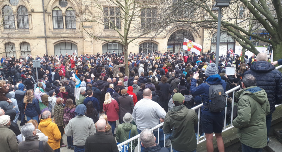Hundreds of people took to the streets in Bradford on Saturday (@BadNogbad)