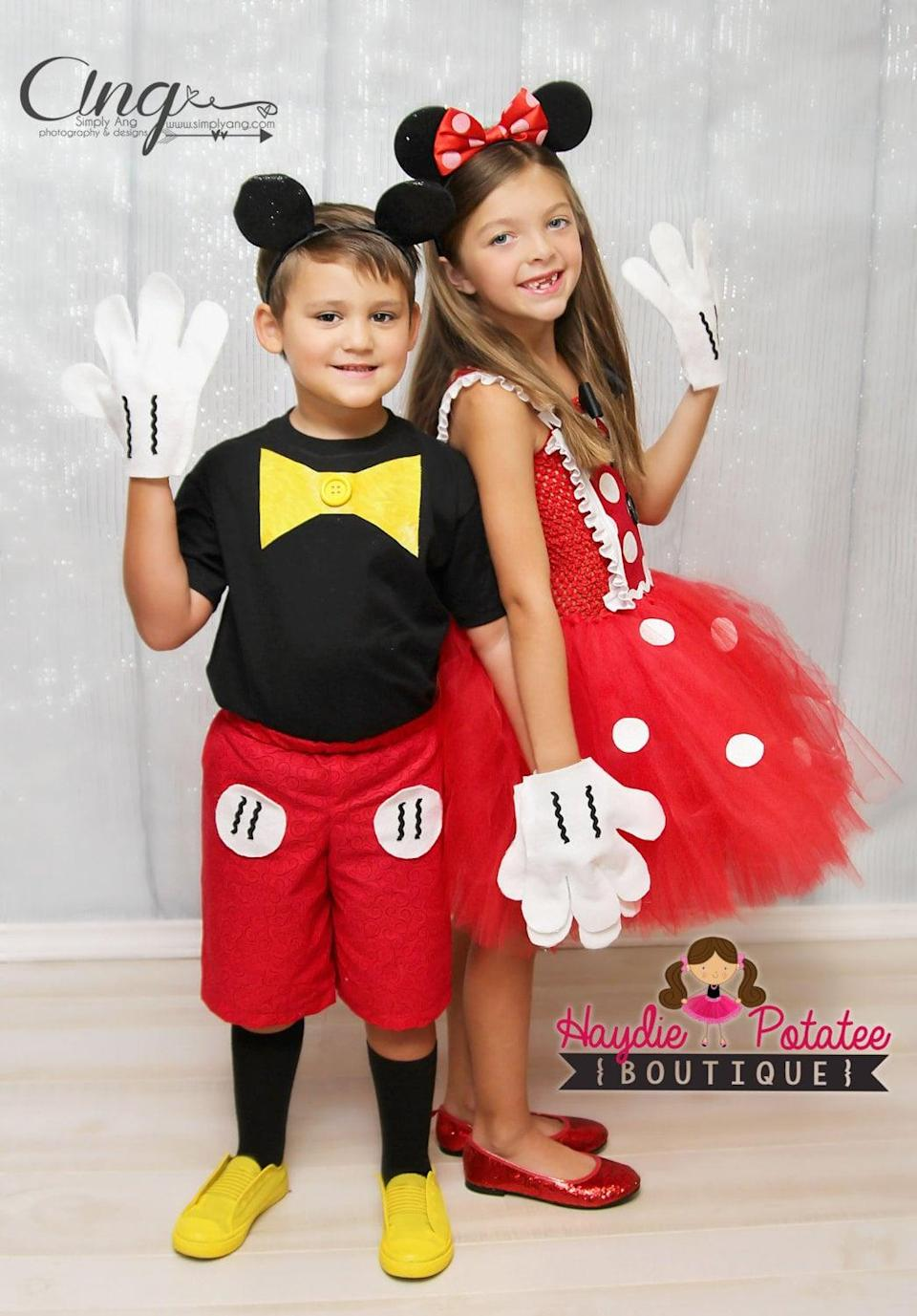 """<p>Everyone's two favorite mice, <span>Mickey and Minnie</span> ($83), are a great way to coordinate <a class=""""link rapid-noclick-resp"""" href=""""https://www.popsugar.com/Halloween"""" rel=""""nofollow noopener"""" target=""""_blank"""" data-ylk=""""slk:Halloween"""">Halloween</a> with siblings!</p>"""