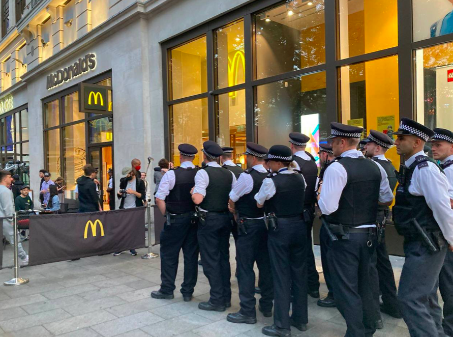Police made 23 arrests during the protests at McDonald's. (Twitter/Animal Rebellion)