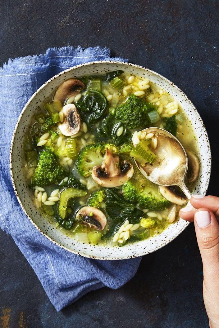 """<p>This soup is every bit as cozy as that cheesy, luscious lasagna you're craving. Seriously.</p><p><em><a href=""""https://www.goodhousekeeping.com/food-recipes/a40384/supergreen-mushroom-orzo-soup-recipe/"""" rel=""""nofollow noopener"""" target=""""_blank"""" data-ylk=""""slk:Get the recipe for Supergreen Mushroom & Orzo Soup »"""" class=""""link rapid-noclick-resp"""">Get the recipe for Supergreen Mushroom & Orzo Soup »</a></em> </p>"""