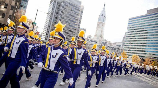 PHOTO: Floats, marching bands and performers make their way past City Hall during the 6ABC Thanksgiving Day Parade in Philadelphia, Nov. 28, 2019. (Michael Candelori/Sipa USA via AP)
