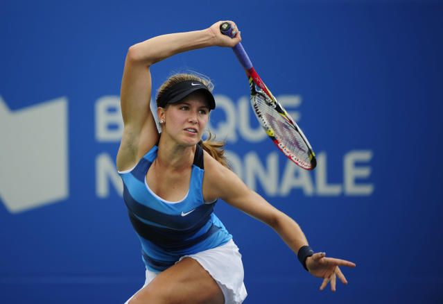 MONTREAL, CANADA - AUGUST 8: Eugenie Bouchard of Canada plays against Shahar Peer of Israel during round of the Rogers Cup at the Uniprix Stadium on August 8, 2012 in Montreal, Quebec, Canada. (Photo by Robert Laberge/Getty Images)