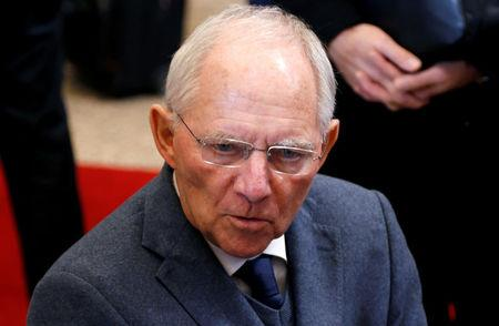 FILE PHOTO: German Finance Minister Schaeuble arrives at a euro zone finance ministers meeting in Brussels