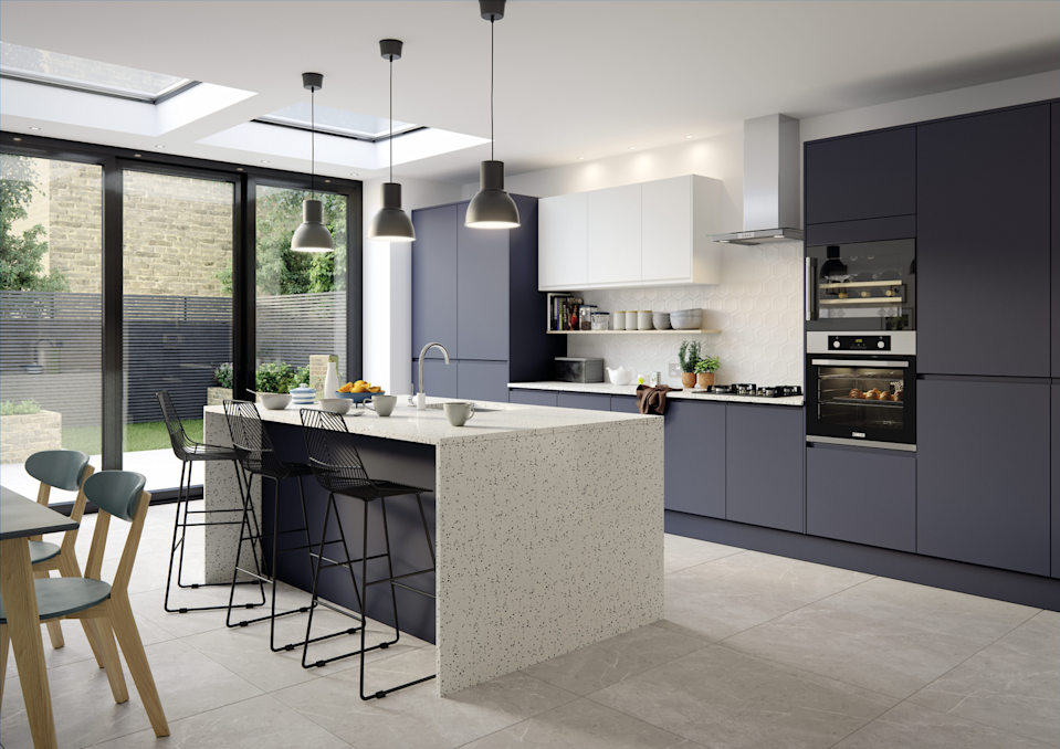 """<p>A kitchen island is a great way to add more countertop space, as well as an extra spot to dine. If you've got <a href=""""https://www.housebeautiful.com/uk/decorate/kitchen/g26858260/dark-colour-kitchen-ideas/"""" rel=""""nofollow noopener"""" target=""""_blank"""" data-ylk=""""slk:dark kitchen"""" class=""""link rapid-noclick-resp"""">dark kitchen</a> cabinets, why not create a style statement by choosing an island in a different shade? </p><p>• 'Luna' kitchen in matt midnight by <a href=""""https://www.magnet.co.uk/kitchens/all-kitchens/luna/"""" rel=""""nofollow noopener"""" target=""""_blank"""" data-ylk=""""slk:Magnet Kitchens"""" class=""""link rapid-noclick-resp"""">Magnet Kitchens</a> </p>"""
