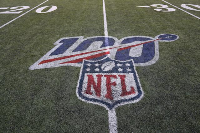 "CINCINNATI, OH - NOVEMBER 10: The NFL 100th year logo after the game against the Baltimore Ravens and the <a class=""link rapid-noclick-resp"" href=""/nfl/teams/cincinnati/"" data-ylk=""slk:Cincinnati Bengals"">Cincinnati Bengals</a> on November 10th 2019, at Paul Brown Stadium in Cincinnati, OH. (Photo by Ian Johnson/Icon Sportswire via Getty Images)"