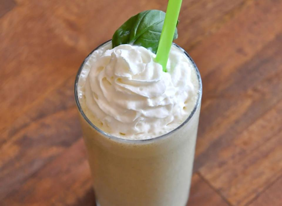 peanut butter basil milkshake with straw