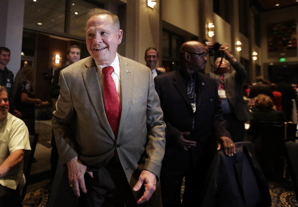 Former Alabama Chief Justice and U.S. Senate candidate Roy Moore greets supporters, Sept. 26, 2017, in Montgomery, Ala. (Photo: Brynn Anderson/AP)