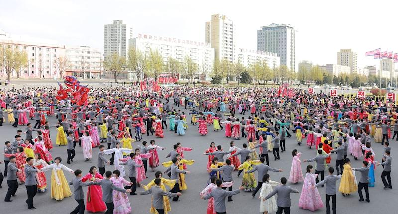 Youth and students attended a dance party to celebrate the anniversary of late North Korean leader Kim Il-Sung in Pyongyang (AFP Photo/KCNA VIA KNS)