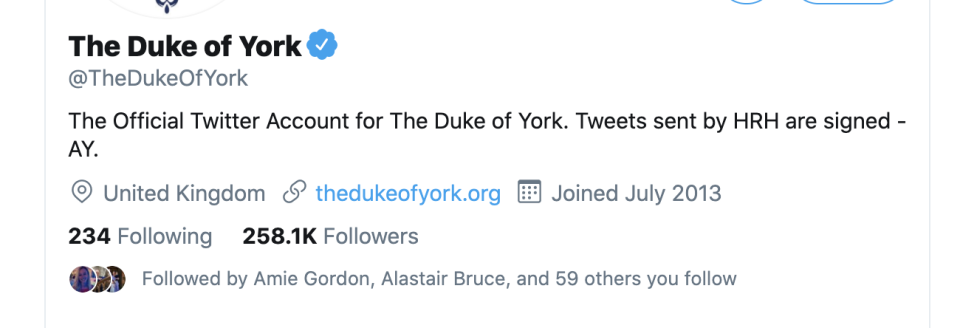 The Duke's Twitter bio still directs people to visit his old website. (Twitter)