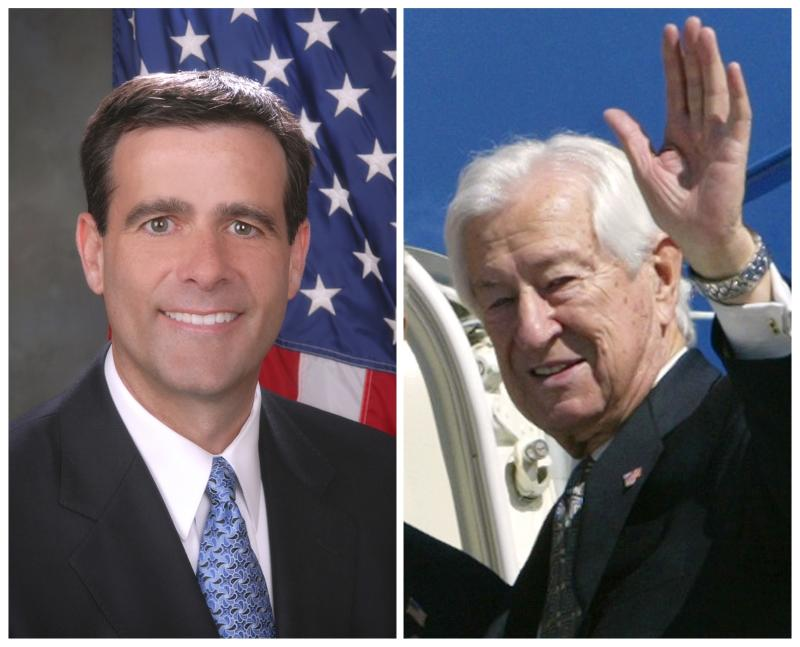 A combination photo shows John Ratcliffe in his campaign handout photo and Rep. Ralph Hall in Dallas Texas