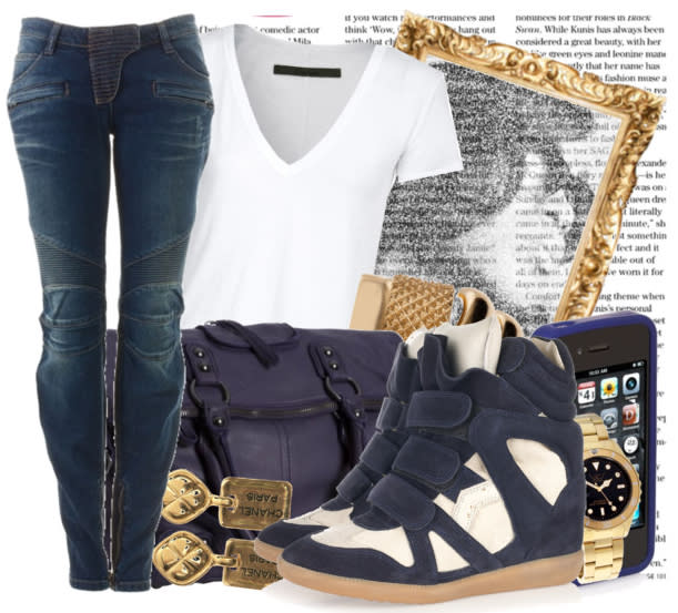 An outfit featuring the Isabel Marant high top sneaker on Polyvore