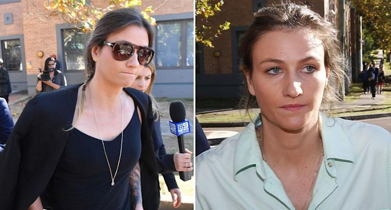 Harriet Wran has avoided jail after admitting to drug possession. She is pictured on the left in court on Wednesday and on the right in April. Source: AAP