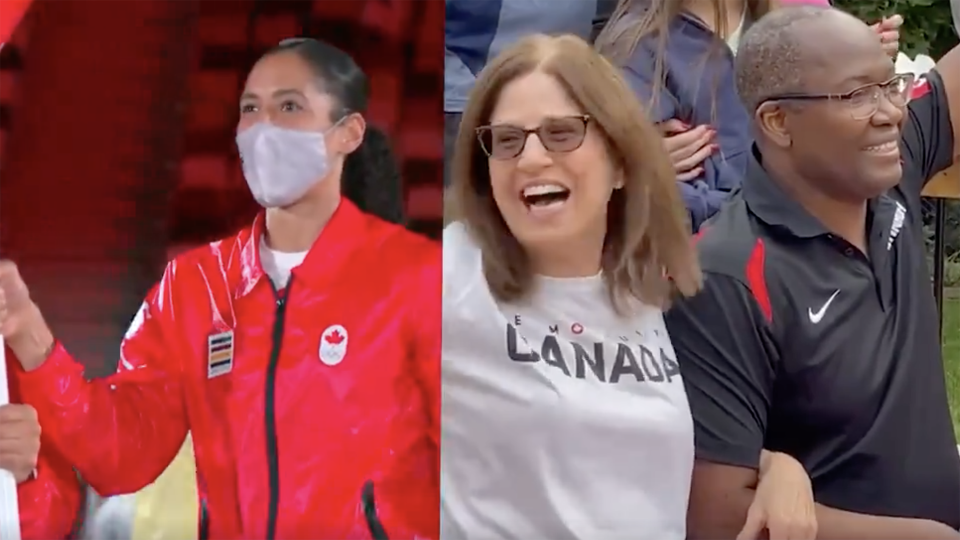 Miranda Ayim's parents were ecstatic to watch their daughter carry Canada's flag at the Opening Ceremony. (Photo via @CBCOlympics/Twitter)