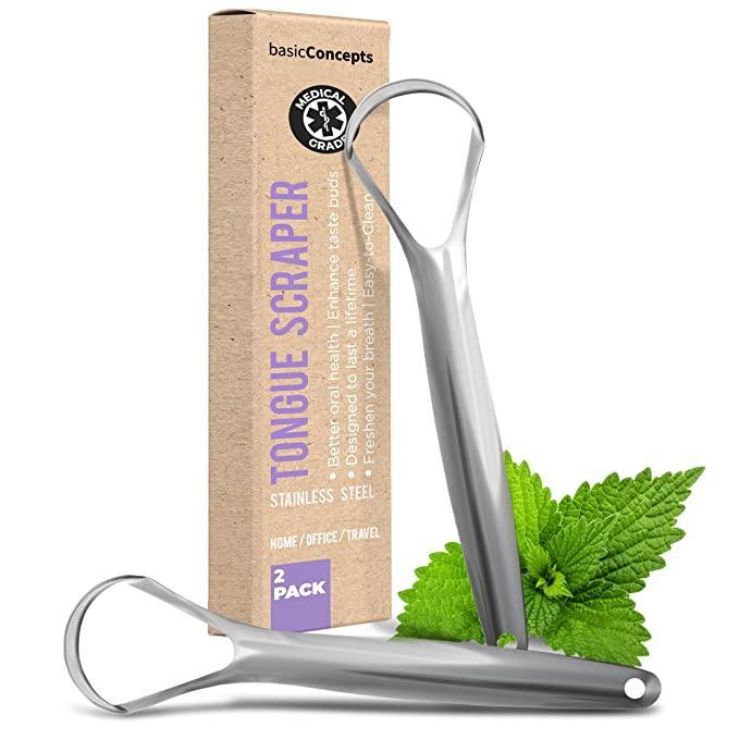 """<h2>Basic Concepts Tongue Scraper </h2><br><strong>Best Used For:</strong> Reducing bad breath, cleaning your tongue<br><br><strong>The Hype:</strong> 4.6 out of 5 stars and 2,758 ratings<br><br><strong>Practical Peeps say: </strong>""""I used a plastic one for like six years and the difference of having a metal one is huge! It's super easy to clean and always seems fresh. It also does a way better job of actually cleaning my tongue than the plastic one did. I love that it comes in a two-pack so I don't have to repack one in and out of my travel bag!""""<br><br><em>Shop</em> <strong><em><a href=""""https://amzn.to/2UAtyuk"""" rel=""""nofollow noopener"""" target=""""_blank"""" data-ylk=""""slk:Amazon"""" class=""""link rapid-noclick-resp"""">Amazon</a></em></strong><br><br><strong>BASIC CONCEPTS</strong> Tongue Scraper, $, available at <a href=""""https://amzn.to/3zojjYT"""" rel=""""nofollow noopener"""" target=""""_blank"""" data-ylk=""""slk:Amazon"""" class=""""link rapid-noclick-resp"""">Amazon</a>"""
