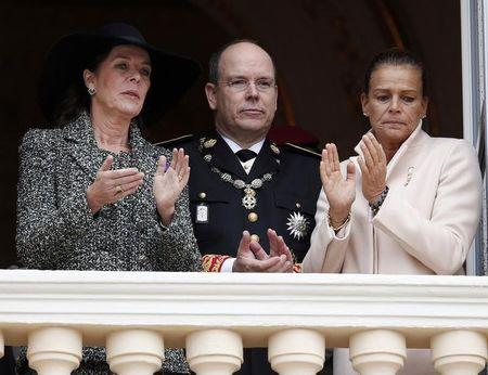 Princess Caroline of Hanover, Prince Albert II of Monaco and Princess Stephanie are seen at the Palace balcony during Monaco's National Day