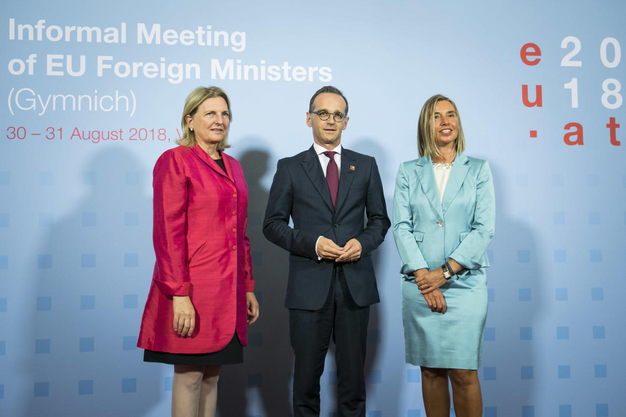 Austrian foreign minister Karin Kneissl at the summit in Austria (Getty)