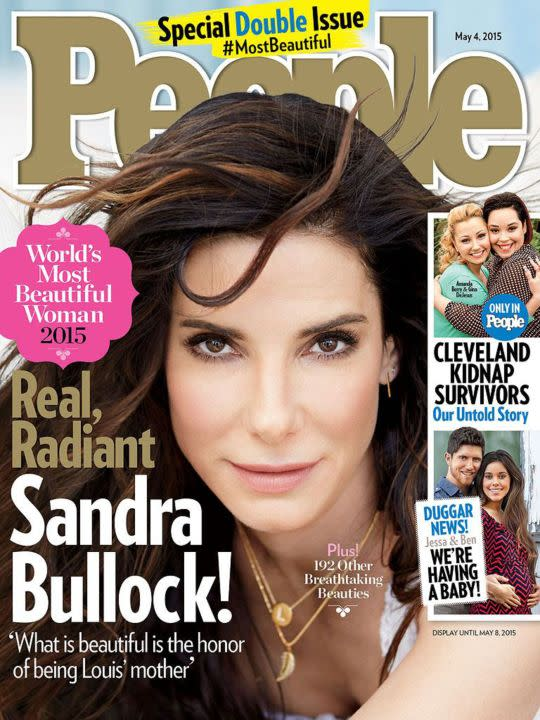 """<p>At 50, Sandra Bullock was the oldest woman to receive the honor. The title was bestowed on her during a time when she wasn't promoting a thing, just spending quality time with her son. """"Real beauty is quiet. Especially in this town, it's just so hard not to say, 'Oh, I need to look like that,'"""" she explained of what the distinction means to her. """"No, be a good person, be a good mom, do a good job with the lunch, let someone cut in front of you who looks like they're in a bigger hurry. The people I find most beautiful are the ones who aren't trying."""" </p>"""