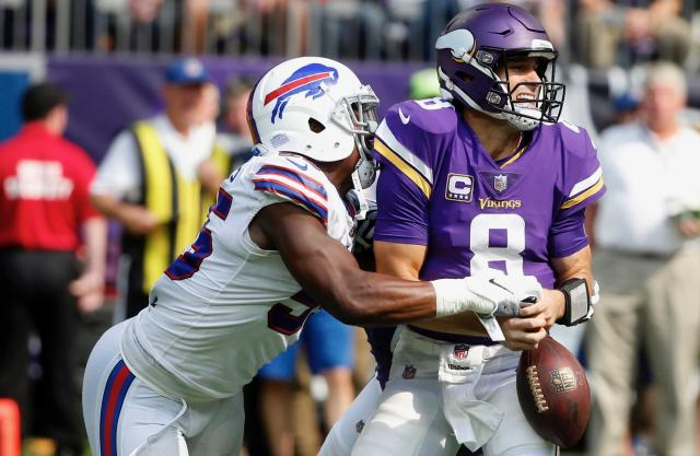 In addition to a humiliating loss, Kirk Cousins was the victim of self-induced taunts after Sunday's game against the Bills. (AP)