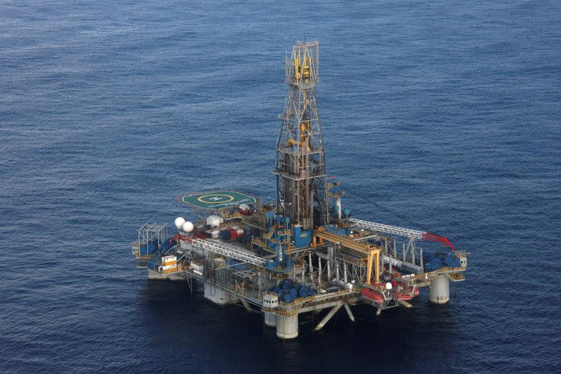 The Homer Ferrington gas drilling rigis seen during President Demetris Christofias' visit in the east Mediterranean, Nicosia