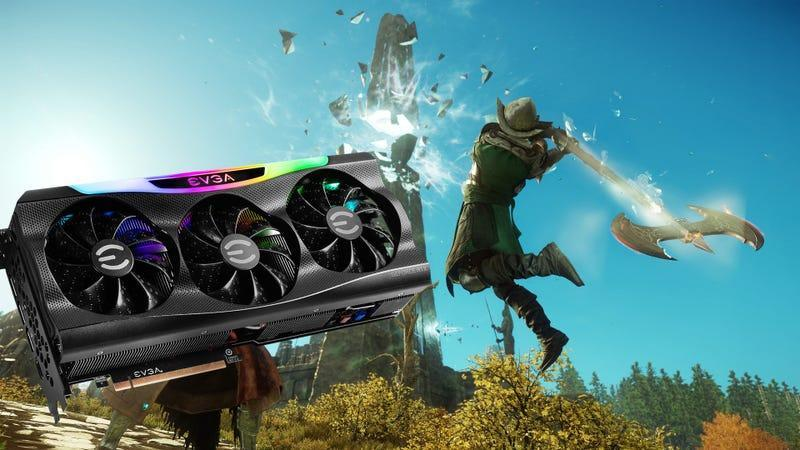 A picture of EVGA's 3090 graphics card over a screenshot of Amazon's New World MMO.