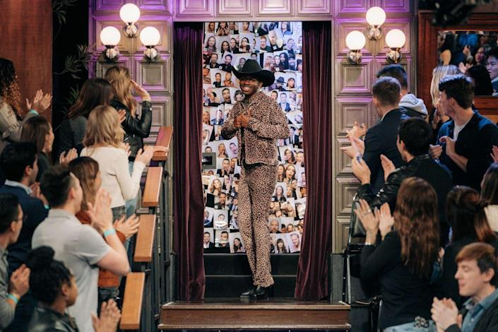 <p>At The <em>Late Late Show</em> with <em>James Corden</em> he made an appearance in this leopard 'fit and his signature cowboy hat. What an ensemble! </p>