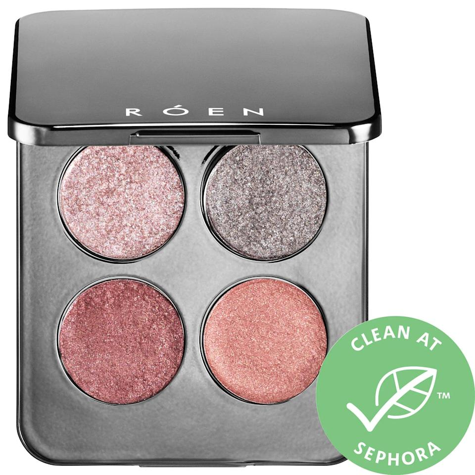 """<h3>Roen Beauty 11:11 Eyeshadow Palette</h3> <br>""""Oddly enough, I've actually been wearing more eye makeup in quarantine than I ever have out in the real world, probably because it's a lot easier to keep it looking sharp for back-to-back Zoom calls on the couch than a full commute and nine-hour workday. The four ridiculously shimmery shadows in this palette are everything for meetings, happy hours, and beyond — they're an instant look and genuinely flattering on my sallow indoor-kid skin."""" — Rachel Krause, deputy beauty director<br><br><strong>ROEN BEAUTY</strong> 11:11 Eyeshadow Palette, $, available at <a href=""""https://go.skimresources.com/?id=30283X879131&url=https%3A%2F%2Fwww.sephora.com%2Fproduct%2Froen-beauty-11-11-eyeshadow-palette-P457451%23donotlink"""" rel=""""nofollow noopener"""" target=""""_blank"""" data-ylk=""""slk:Sephora"""" class=""""link rapid-noclick-resp"""">Sephora</a><br>"""