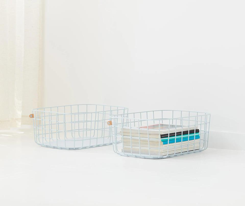 <p>If you're interested in the wire basket for storage, get the <span>Open Space Large Baskets, set of two</span> ($82) for bigger items like magazines or books.</p>
