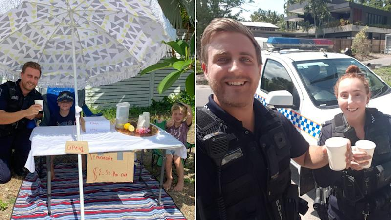 Queensland police officers (right) help brothers Jack and Will Reilly (left) who were selling lemonade to raise money for bushfire victims.
