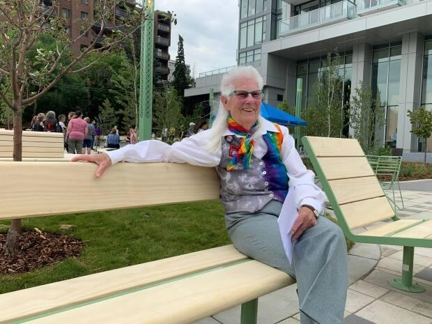 Lois Szabo, an important early leader in Calgary's LGBTQ community, said she was pleased that the community was being recognized through the opening of the Lois Szabo Commons in the city's southwest. (Lucie Edwardson/CBC - image credit)