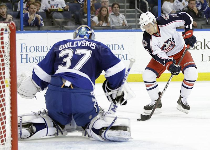 Gudlevskis wins NHL debut as TB tops Columbus 3-2