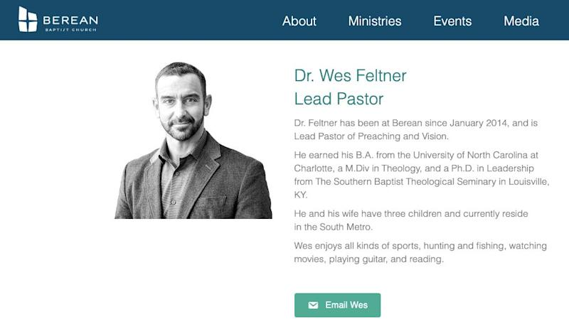 Wes Feltner is listed as a pastor at Berean Baptist Church on its website on Nov. 9, 2019. (Photo: https://www.bereanbaptist.com/staff/)