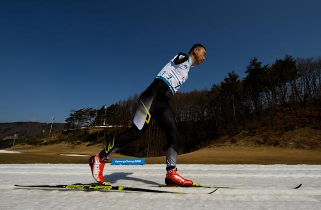 Haitao Du CHN races in the Cross-Country Skiing Standing Men's 1.5km Sprint Classic at the Alpensia Biathlon Centre. The Paralympic Winter Games, PyeongChang, South Korea, Wednesday 14th March 2018. OIS/IOC/Thomas Lovelock/Handout via REUTERS