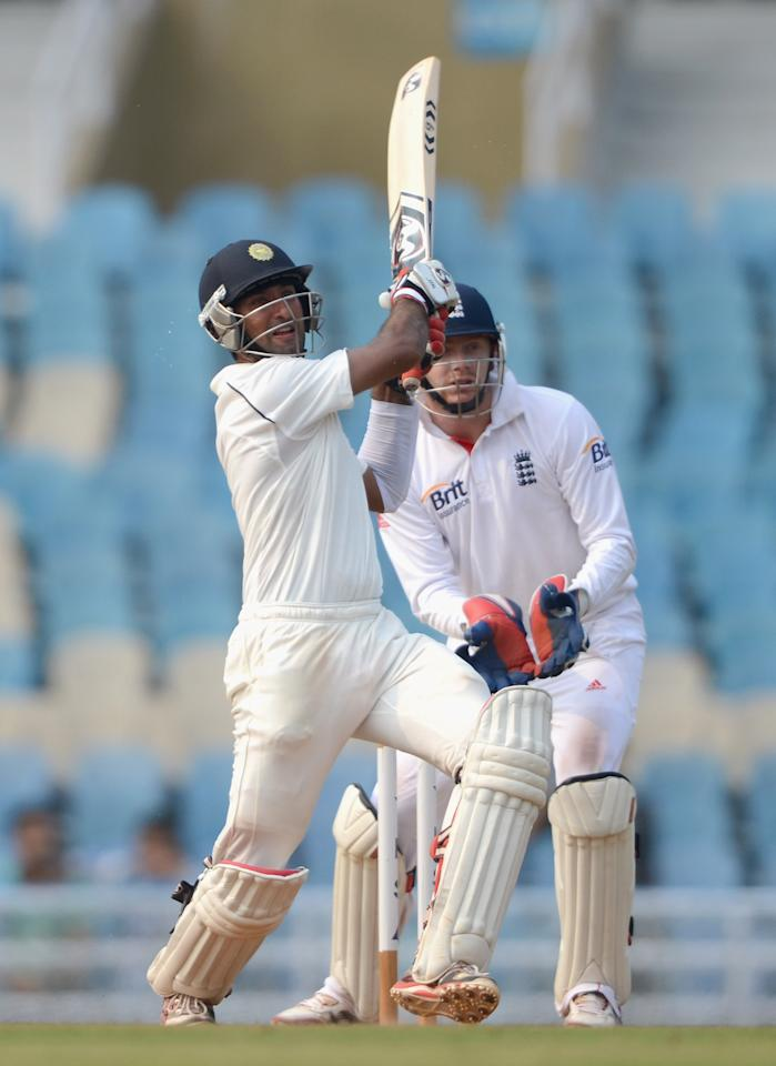 MUMBAI, INDIA - NOVEMBER 04:  Cheteshwar Pujara of Mumbai A bats during day two of the tour match between Mumbai A and England at The Dr D.Y. Palit Sports Stadium on November 4, 2012 in Mumbai, India.  (Photo by Gareth Copley/Getty Images)