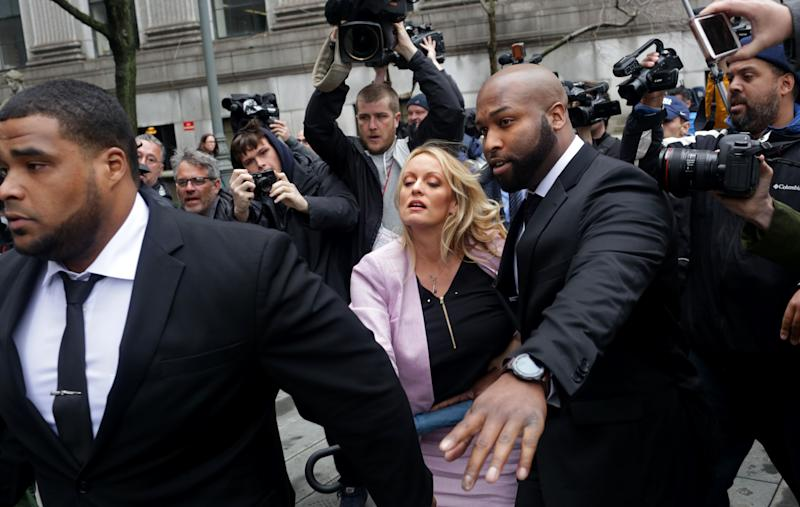Adult film actress Stephanie Clifford, whose stage name is Stormy Daniels, arrives at the United States District Court for the Southern District of New York for a hearing related to Michael Cohen, President Donald Trump's longtime personal attorney.