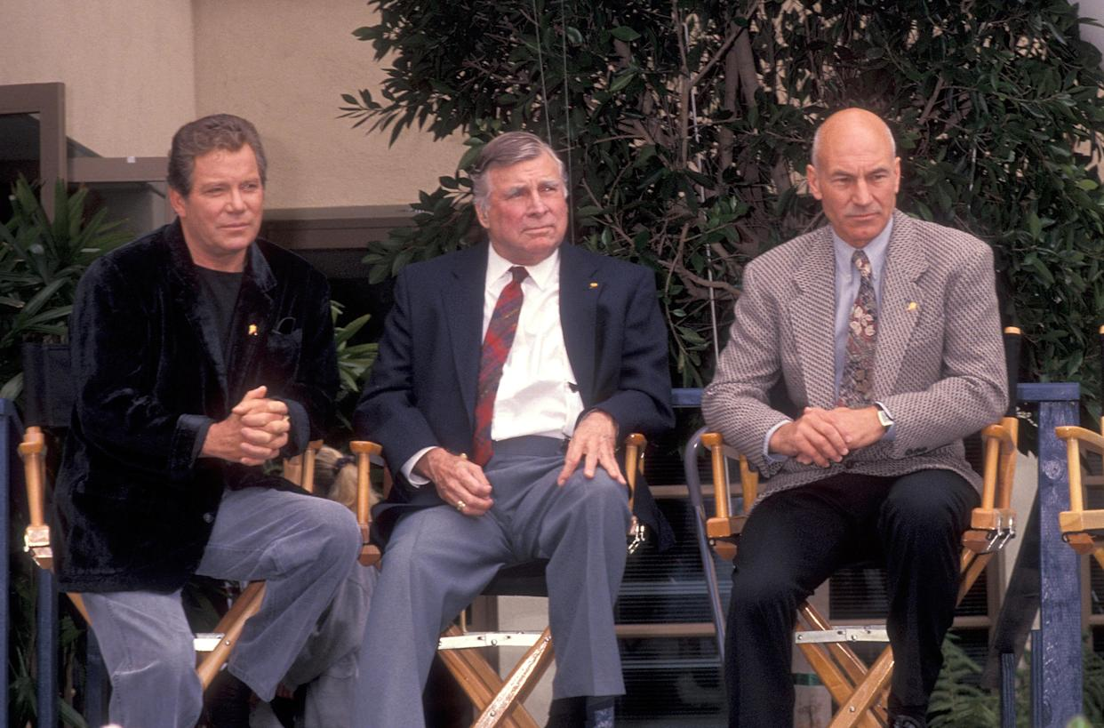 HOLLYWOOD, CA - JUNE 6:   Actor William Shatner, producer Gene Roddenberry and actor Patrick Stewart attend the
