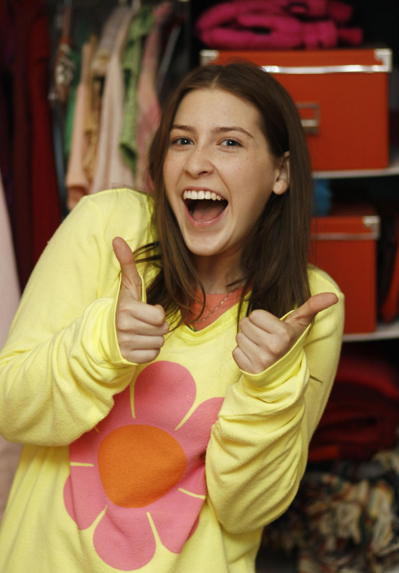 """In this Sept. 26, 2011 photo, actress Eden Sher, who plays Sue Heck on the ABC television show """"The Middle"""", poses for a portrait in character in Burbank, Calif.  Season three of """"The Middle"""" premiered Sept. 21. (AP Photo/Matt Sayles)"""